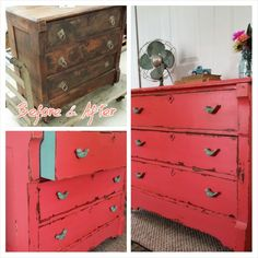 Shabby chic dresser in a custom color using General Finishes Coral Crush