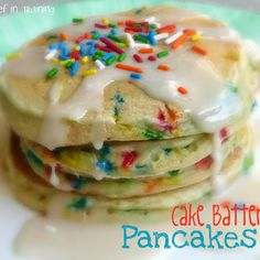 Cake Batter Pancakes. Delicious! I made these for Gunner's birthday breakfast. I had some leftover funfetti cake mix so I used that and then added sprinkles to the glaze. So good! I had to add a bit of extra milk to the batter and about 2 tablespoons extra to the glaze. Will make again!