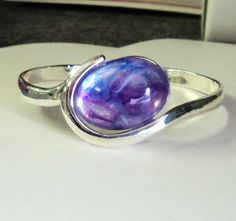 Bracelet Silver Bangle with Acrylic Purple by TAKUniqueDesigns, $6.50
