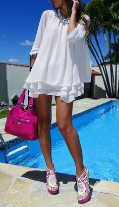 white and pink . . . I think this would be cute with white legging-style shorts. Too short for this moomy otherwise. :)