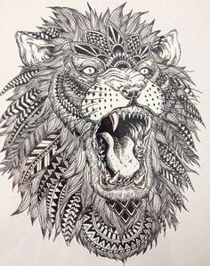 B/W FEATHERED LION Temporary tattoo by almasjewelryart on Etsy