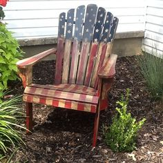 SOLD American flag Adirondack chair by on Etsy for paint💡 a gift for Fred born on the 💥 💥 Plywood Furniture, Rustic Furniture, Painted Furniture, Decoupage Furniture, Outdoor Furniture, Pallet Furniture, Furniture Design, Fourth Of July Decor, 4th Of July Decorations