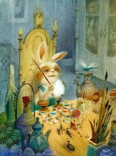 While painting eggs, the Easter Bunny has a captive audience. <> by artist Igor Oleynikov Hoppy Easter, Easter Bunny, Easter Eggs, Bunny Painting, Painting Eggs, Artist Painting, Easter Parade, Egg Decorating, Vintage Easter