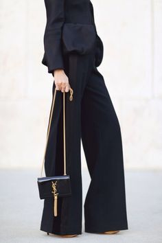 wide legs & YSL bag #style #fashion