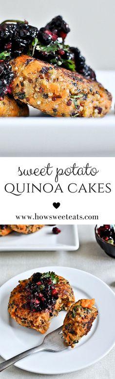Sweet Potato Quinoa Cakes with Blackberry Salsa - Vegetarier Sweet Potato Recipes, Veggie Recipes, Whole Food Recipes, Vegetarian Recipes, Healthy Recipes, Healthy Cooking, Healthy Eating, Cooking Recipes, Dinner Healthy