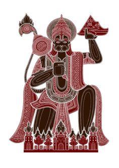 Hanuman (silkscreen print by Poonam Mistry) Doodles Zentangles, Gandhi, All God Images, Shri Hanuman, Krishna, Hanuman Wallpaper, Hindu Deities, Hinduism, Indian Folk Art