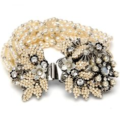 Crystal And Pearl Bracelet Miriam Haskell