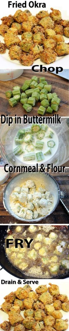 Fried Okra Recipe //other says: Yumm! In Oklahoma, we also add in chopped onions, tomatoes and potatoes. All covered in a crispy cornmeal coating. Okra Recipes, Vegetable Recipes, New Recipes, Vegetarian Recipes, Cooking Recipes, Favorite Recipes, Healthy Recipes, Easy Recipes, Okra