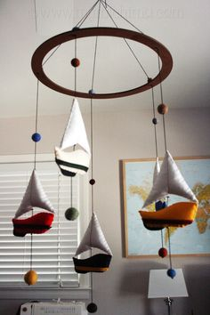 Sail Away  Decorative Hanging Mobile  Stuffed Felt by MiChiMaLLC, $110.00