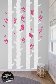 Woodland Wall Decor birch tree wall decal, birch and doe wall stickers, peel and stick