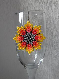 """Ручная работа Серьги из бисера """"Sunny flowers""""."""