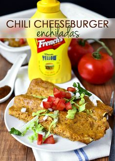 Gluten-free Chili Cheeseburger Enchiladas are a tasty twist on chili cheeseburgers and enchiladas!  | iowagirleats.com