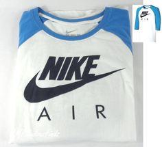 Nike Air Men Athletic Cut 3/4 Sleeve Baseball T-Shirt Blue White SZ L 812048-100 #Nike #ShirtsTops