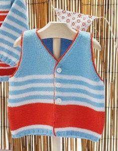 yun orgu dunyasindan ornekler Knitting For Kids, Free Knitting, Baby Knitting, Baby Boys, Filet Crochet Charts, Knit Baby Sweaters, Baby Patterns, Knit Crochet, Vest