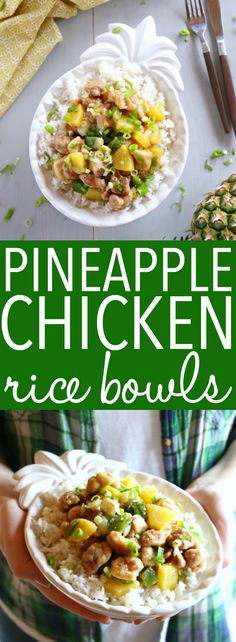 These Pineapple Chicken Rice Bowls make the perfect healthy easy weeknight meal! Made with crispy chicken, fresh veggies, pineapple and a sweet Asian-inspired sauce, they're on the table in 25 minutes or less! Recipe from thebusybaker.ca! #pineapplechicken #easychickenrecipe #pineapplechickenstirfry #asianchicken via @busybakerblog