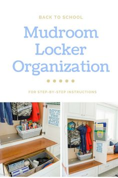 Easy Mudroom updates to keep the whole family organized. Locker Organization, Organization Ideas, Storage Ideas, Organizing, Porch Storage, Family Organizer, Kitchen Essentials, Storage Cabinets, Mudroom