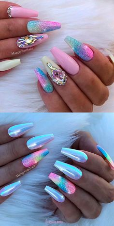 50 Magical Unicorn Nail Art DesignsMany people have a passion for unicorn nails. And Unicorn nails are becoming a unique trend. Fancy Nails, Bling Nails, My Nails, Bling Nail Art, Glitter Nails, Jewel Nails, Stiletto Nails, Nail Swag, Crome Nails
