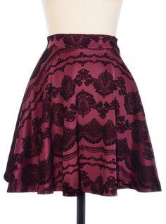 Dark Beauty Flocked Skirt | PLASTICLAND