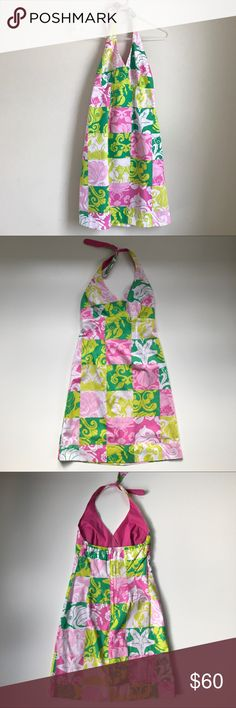Lilly Pulitzer Vintage Ocean Vibes Halter Dress Excellent Condition! Halter A line dress with back zip & clasp closure. 100% cotton. Fully lined. Features an ocean theme print that includes  seashells, crabs, & starfish. Retro bright colors on different shades of pinks & greens. Measurements Chest 16 inches straight across. Length about 39 inches Waist about 15 inches straight across. Note* The halter ties do come completely apart for adjustment. Lilly Pulitzer Dresses Midi