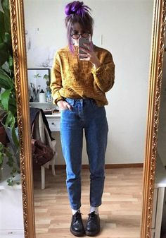 Knitted sweater, mom jeans & Dr Martens shoes by aliencreature