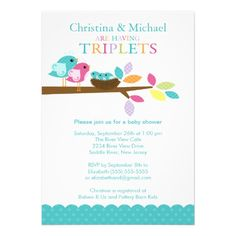 Baby Birds Nest Triplets Baby Shower Invitations