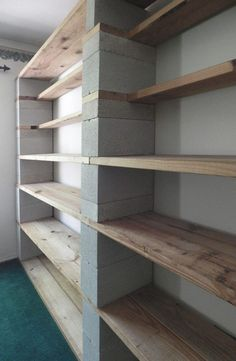 I& been wanting photos of my Cinder Blo . I& been wanting to share photos of my Cinder Block bookshelves for a long time … Garage Organization, Garage Storage, Diy Storage, Storage Shelves, Storage Ideas, Recycling Storage, Basement Storage, Paper Storage, Organizing
