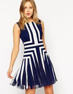 Image 1 ofASOS Panelled Fit And Flare Mini Dress