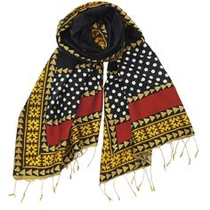 Nunzia -- A bright, rich silk scarf with intricate patterns and a lovely fringe.