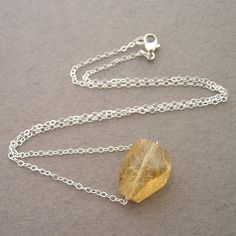 #Single Citrine Necklace (N-SS-0074)   #citrine #necklace  Repin, Like, Share!  Thanks!