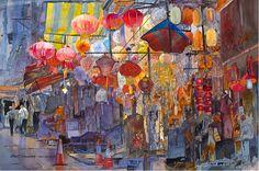 """Hong Kong Central"" by John Salminen (watercolor) 24.5x37"