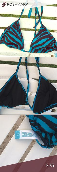 Pink triangle bikini top sz s in turquoise & black NWOT VS Pink bikini triangle top in black and turquoise animal print. Has string tie in the back and behind the neck. Has light padding (more to prevent showing things than making things seem bigger 😉) in unworn condition with no pulls, pills or problems. Would easily mix well with a black bikini bottom. PINK Victoria's Secret Swim Bikinis