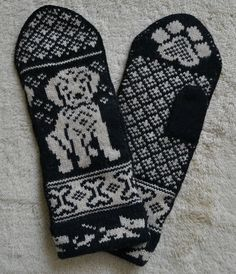 HAND CRAFTED 100% WOOL MITTENS, GOLDEN RETRIEVER / LABRADOR PUPPY DOG, Fair Isle Crochet Mittens, Knitted Gloves, Knit Crochet, Fair Isle Knitting Patterns, Knitting Charts, Wrist Warmers, Hand Warmers, Dog Sweaters, Knitting Accessories