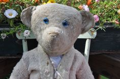 1910 HUGE American white mohair teddy bear BLUE glass eyes by bebesandbruins on Etsy
