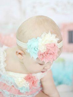 Coral, menta y marfil bebé diadema, flor Shabby diadema niño y niña recién nacida, arco del pelo