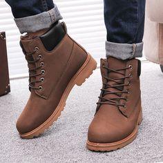 Men Winter Boots 2015 new PU Leather men boots Hot Sell England Plus cotton snow boots Shoes men Warm Winter men shoes