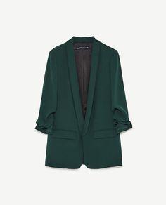 Zara roll-up sleeve blazer Blazer Outfits Casual, Blazer Fashion, Suit Fashion, Curvy Fashion, Fall Fashion, Fashion Trends, High Street Fashion, Zara, Mode Mantel