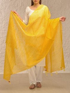Yellow Kota Cotton Leheriya Dupatta