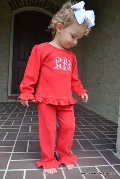 Monogrammed Red Ruffle Shirt and Pants Monag Outfit