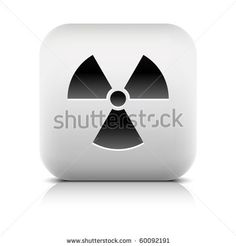 All web button this series internet icon http://www.shutterstock.com/sets/101711-stone-white-button.html?rid=498844 — Stone web 2.0 button radiation symbol sign. White rounded square shape with shadow and reflection. White background — #Royalty #free #stock #vector #illustration for $0.28 per download