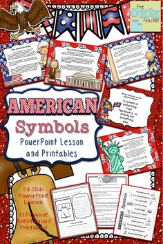 American Symbols: Great Bundle of 11 American Symbols! PowerPoint Lesson and pack of printables.