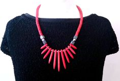 SALE...Sexy Red Coral and Grey Agate Necklace by by glamrox