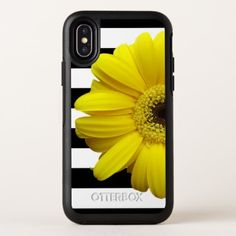 Yellow Daisy Flower Black & White Stripes OtterBox Symmetry iPhone X Case - stripes gifts cyo unique style