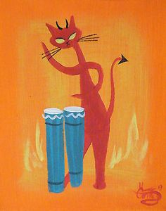 EL GATO GOMEZ PAINTING RETRO MID CENTURY MODERN HELL DEVIL CAT 1950S DRUM KITSCH #Abstract