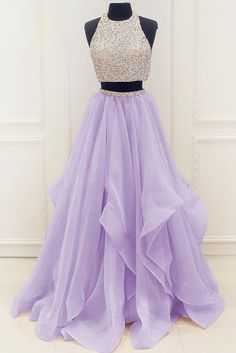 Lavander organza two pieces sequins A-line long prom dresses,simple evening dresses for teens