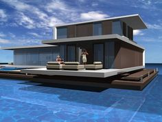 Is it really possible to live on a houseboat? Floating Architecture, Residential Architecture, Houseboat Living, Floating House, Courtyard House, Tiny House Movement, Yacht Design, Water Crafts, Rustic Design