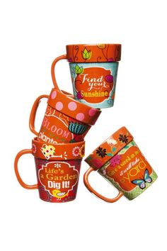 """For the gardener , flower lover or just because they are so cute, these mugs are a must have . Each mug is made to look like a terra cotta flower pot and painted with garden themes and quirky, fun quotes. Ideal for use on any garden table as a coffee mug , holding silverware, or serving up condiments. Set of 4glazed ceramic mugs.    Measures 4.5"""" tall and holds 14 oz of your favorite hot beverage   Flower Pot Mugs by The Purple Porch. Home & Gifts - Home Decor - Dining - Dinnerware…"""
