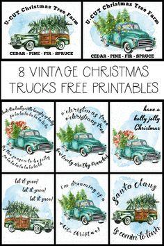 Free Printable Vintage Christmas Trucks | The Happy Housie