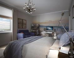Интерьер небольшой спальни | Студия LESH (фотообои, дизайн интерьера, светлый, маленькая комната)