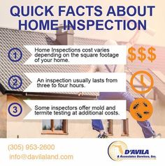 Quick facts about Home Inspection #davilaland #Engineers #southflorida #tips #homeinsurance #homeinspection