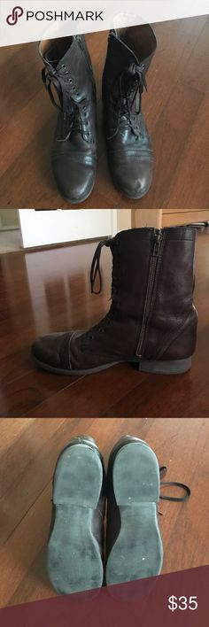 Women's leather combat boots Women's 11M. The brand is Zigi Soho and they are made of brown leather. Lovingly worn and still in great condition. They zip on the insides of the foot and have laces. Very vintage and hipster. Can dress up or down Zigi Soho Shoes Combat & Moto Boots